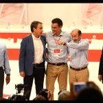 Felipe Gonzalez, Jose Luis Rodriguez Zapatero, Pedro Sanchez, Secretario General del PSOE,Alfredo Perez Rubalcaba y Joaquin Almunia, durante el cierre del Congreso extraordinario del PSOE