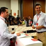 Pedro Sanchez, Secretario General del PSOE,vota en la ultima jornada, del Congreso extraordinario del PSOE