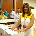 Susana Diaz, Presidenta de la Comunidad Andaluza,vota durante la ultima jornada del Congreso extraordinario del PSOE